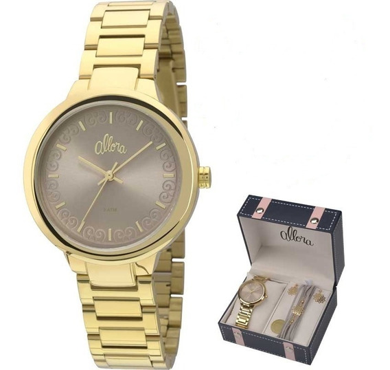 Relógio Allora Feminino Kit Al2035fcn/k4c Original Barato