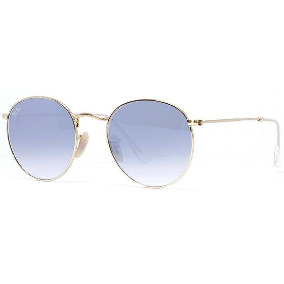 Ray-ban Round Flat Rb3447n 001/3f 53 - Dourado/azul Gradiente