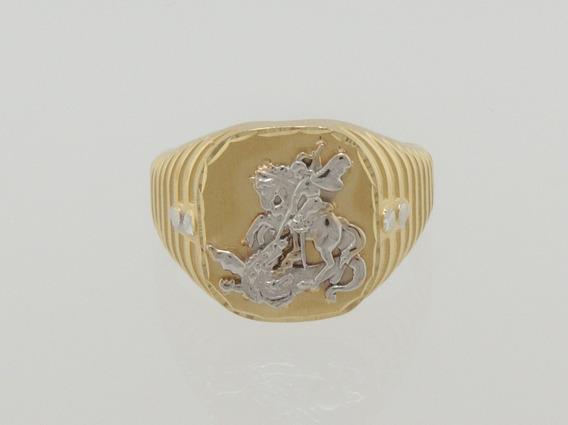 Anel Masculino São Jorge Ouro 18k 750 Lançamento