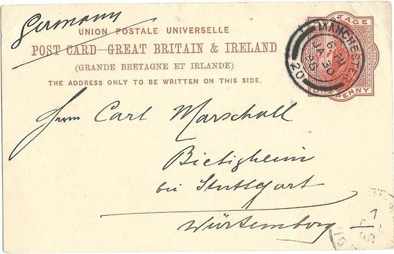 Entero Postal Carta Postal Circulada Gran Bretaña Año 1898
