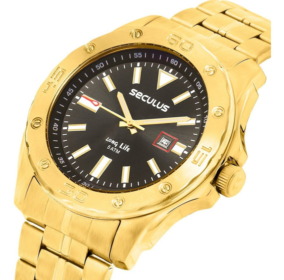 Relógio Masculino Seculus Long Life Dourado 23684gpsvda1