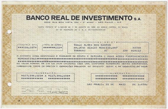 1978 Ação Preferenciais Nominativas Banco Real Investimentos