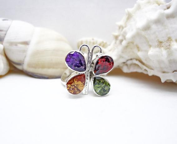 Anillo Ajustable Mariposa Cristales Colorido Plata 925