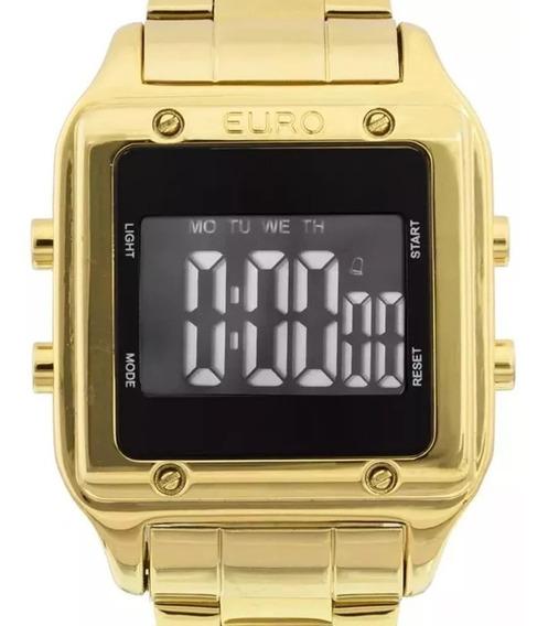 Relógio Feminino Dourado Quadrado Digital Euro Sabrina Sato