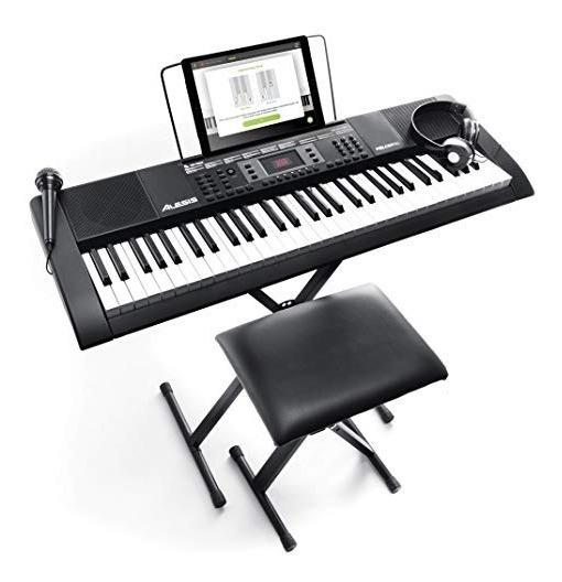 Kit Completo Teclado Musical Alesis Com Suporte+fone+banco
