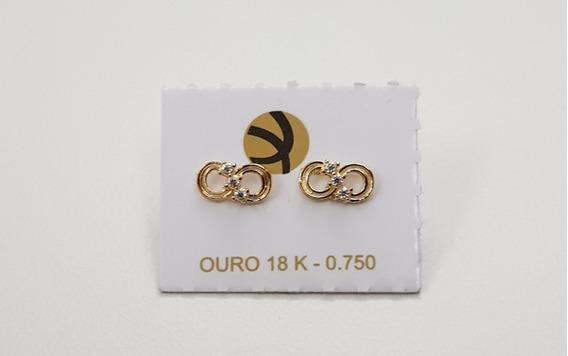 Brinco Feminino Infantil Símbolo Infinito Brilhantes Ouro18k