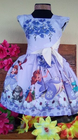 Vestido Infantil Princesa Sofia Tematico Luxo Festa