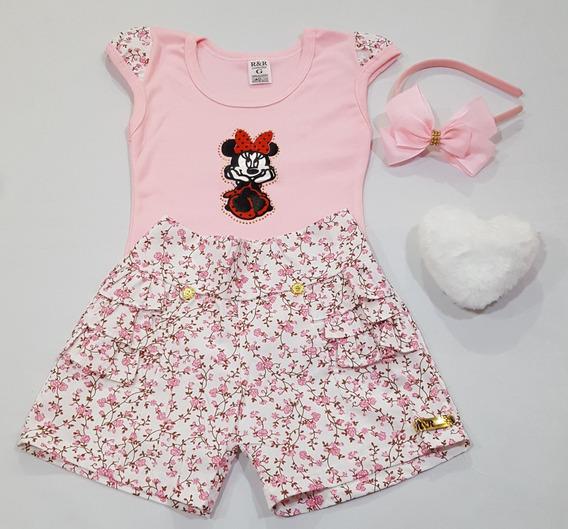 Conjunto Shorts Saia Lol/minie/outros Com Blusinha E Tiara/laço Menina Criança Infantil Tradicional Algodão Feminino