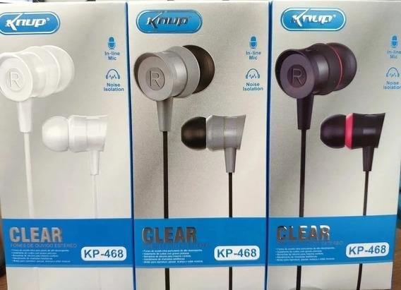 Kit Fones De Ouvido Premium Estereo Knup Clear