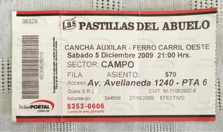Entrada Las Pastillas Del Abuelo - Cancha Aux Ferro -usada-