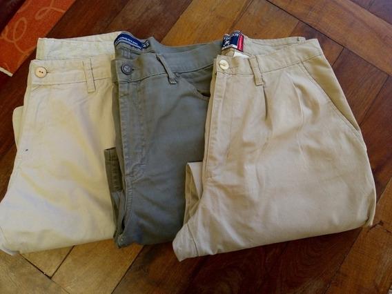 Lote X 3 Pantalones De Gabardina De Marca, Talle 42