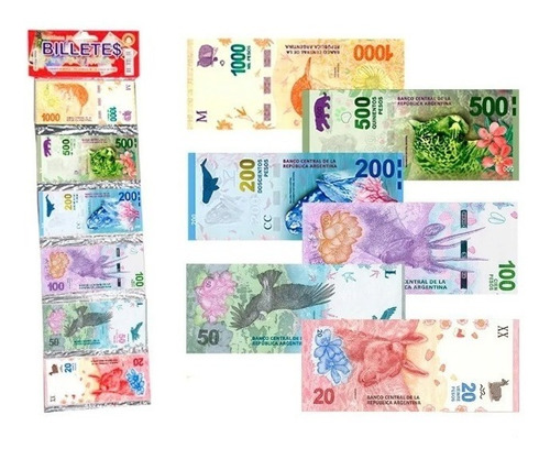 10 Pack Dinero Juguete X 80 Billetes Argentinos Didáctico