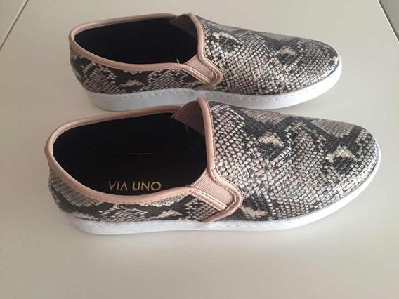 Zapatos Panchas Vía Uno Animal Print Nude