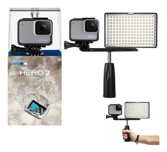 Gopro Hero 7 White Câmera + Iluminador Led Com Garra