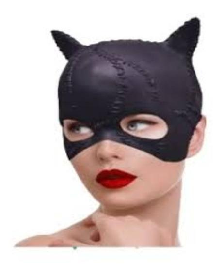 Mascara Gatubela Mujer Gato De Latex Negra Cosplay Hallowen