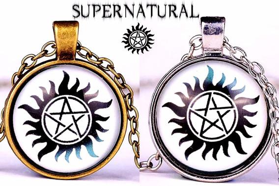 Colar Supernatural Sobrenatural Tatuagem Pentagrama Com Fogo