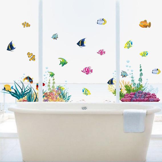 Adesivo Para Box Banheiro Decorativo Fundo Do Mar Colorido
