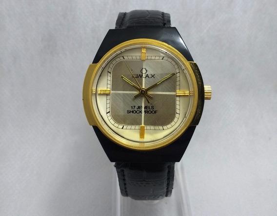Relógio Suíço Omax Corda Manual. Fundo Dourado. Swiss Made