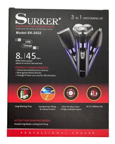 Imagen 1 de 4 de Máquina De Afeitar Eléctrica 3 En 1 Surker Usb/ Tomasstore