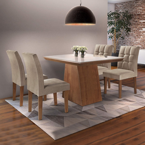 Mesa De Jantar Sevilha I Tampo De Vidro 4 Cadeiras Ie