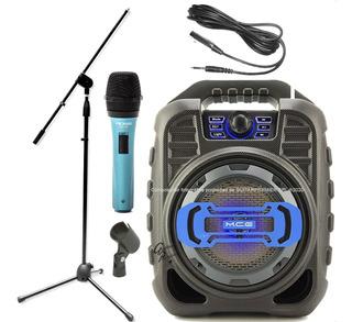 Combo Karaoke Microfono Cable Pie Pipeta Parlante Bluetooth