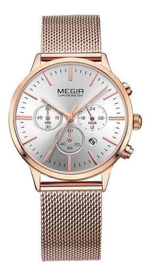 Relógio Feminino Megir Quartz Cronógrafo M-2011 Rose