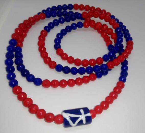 Guia De Ogum Azul E Vermelha De Porcelana 161 Contas Umbanda