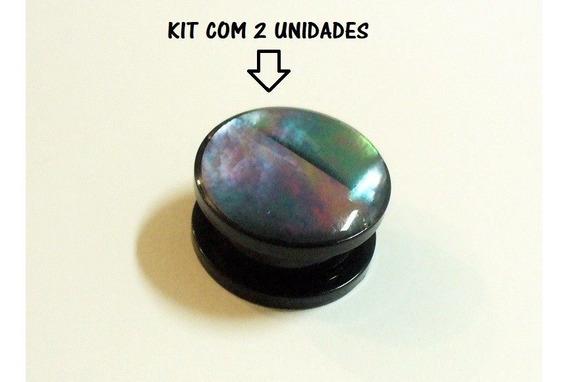Kit 2 Peças De Alargador 16mm Acrílico Preto C Pedra Abalone