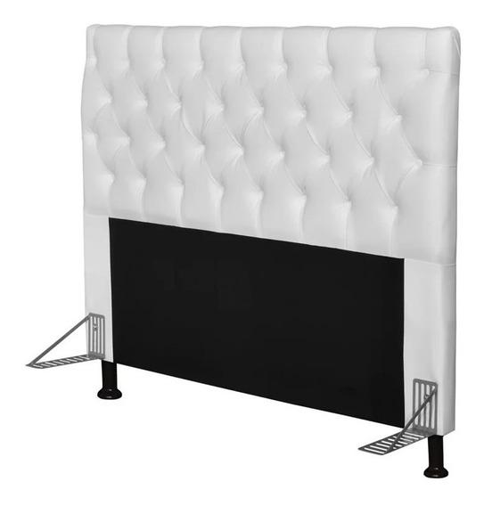 Cabeceira de cama box JS Móveis Cristal Casal 140cm x 126cm Couro sintético branca