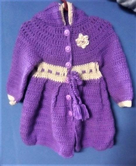 Saquito Color Morado Tejido A Crochet Para Niña De 4-5 Años.