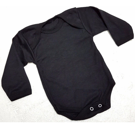 Pañalero Negro Manga Larga Algodon 100% Bebe De 3 A 18 Mese