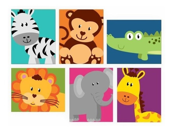 Placas Decorativa Infantil Zoo Safari 6 Unid