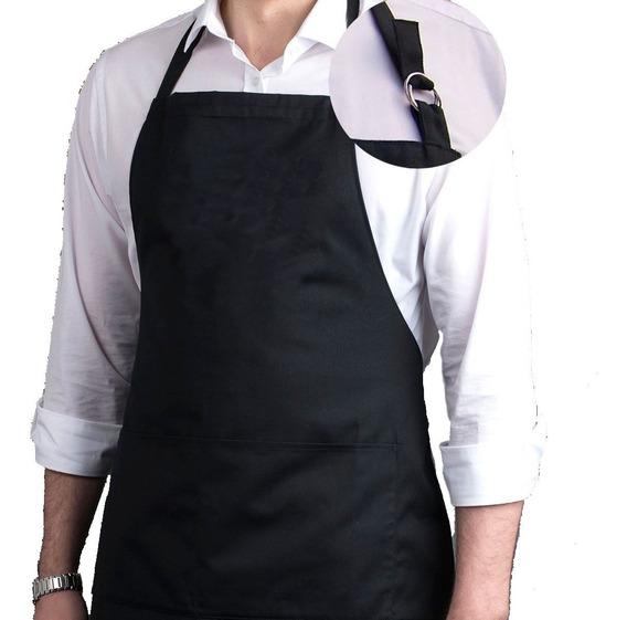 Kit 2 Pcs Avental Liso Oxford Bolso Regulador Chef Uniforme