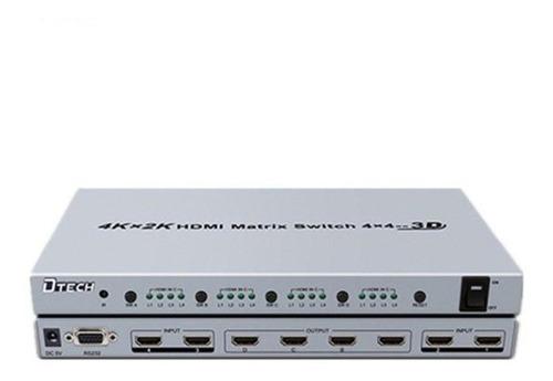 Matriz Hdmi 4 Entradas Y 4 Salidas D-tech 340 Mhz 2k 4k