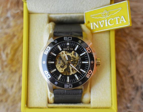 Relógio Invicta 17261 Automático Skeleton Original Na Caixa Pulseira De Couro