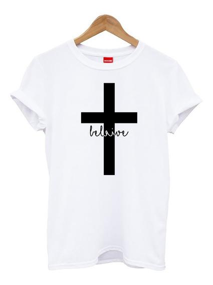 Blusa Playera Camiseta Dama Believe Cruz Fé Elite #798