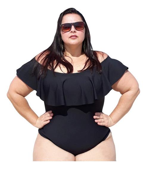Body Maiô Plus Size Gg Preto Em Suplex Babado Ciganinha