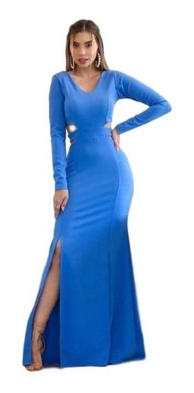 Vestido Feminino Festa Longo Azul Lago Madrinha Formatura