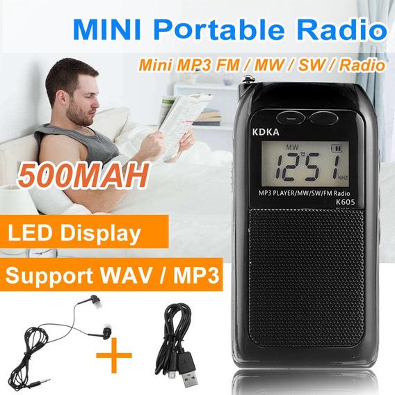 Recarregável Mini Rádio Portátil Fone De Ouvido Digital Fm M