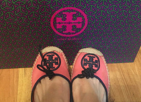 Padrisimos Zapatos Flats Spadrilles Tory Burch Rosa Con Azul