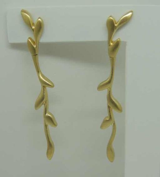 Glitter Joias - Brincos Folhas Hs Grife Em Ouro