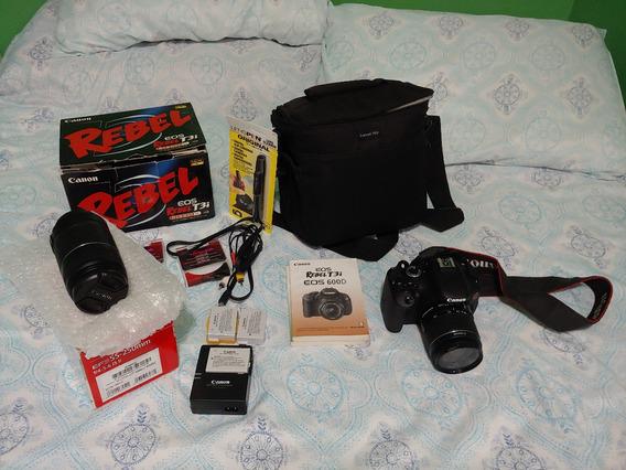 Kit Canon Eos 600d Rebel T3i+lente 18-55mm E Lente 55-250mm
