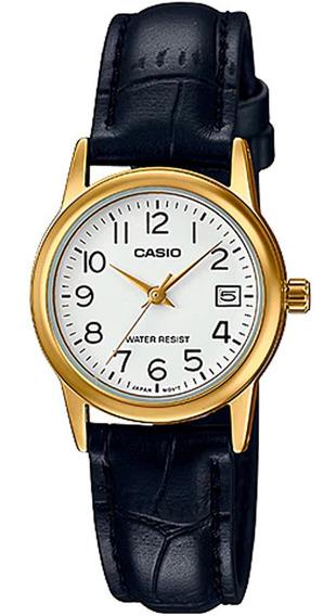 Relógio Casio Feminino Pequeno Dourado Pulseira Couro Preto