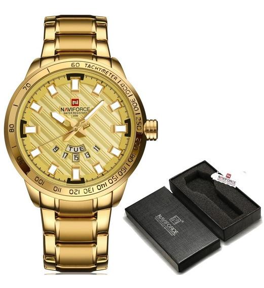 Relógio Naviforce Dourado 9090 Masculino Aço Inoxidavel