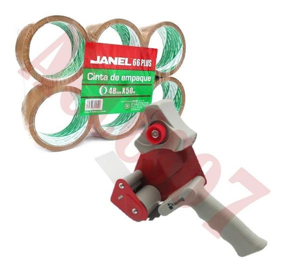 Kit Dispensador De Cinta Canela De Empaque + 6 Cintas Adhesiva 48x50m Despachador P/ Sellar Cajas De Carton Envio Gratis