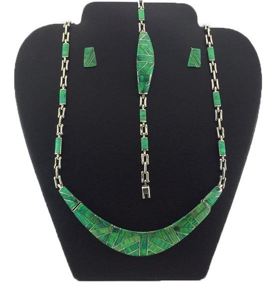 Juego Collar Pulsera Aretes De Plata925 Con Piedra Opalo J12