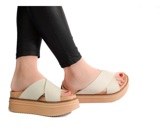 Sandalias Mujer Zapatos Plataforma 100% Cuero Vacuno