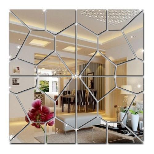 Espelho Decorativo Geométrico Acrílico 1,20m X 30cm Quadrado