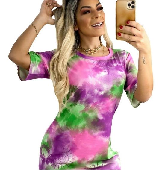Vestido Tie Dye Camisetão Feminino Roupa Blusao Promoção