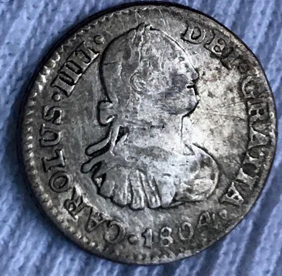 Moneda 1/2 Real Carlos 4 Mexico 1804 Plata Envio Gratis